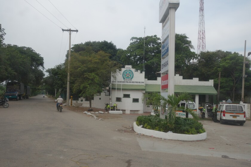 The police station at the entrance to the town of Aracataca.