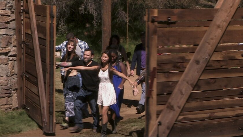 """This photo released by Fox shows a scene from the new Fox reality TV series, """"Utopia."""" The show premieres on Sunday, Sept. 7, 2014, (8:00-10:00 PM ET/PT) before continuing in its regular time period, Tuesday, Sept. 9 (8:00-9:00 PM ET/PT), with six special broadcasts on Fridays (8:00-9:00 PM ET/PT), beginning Sept. 12 on Fox. (AP Photo/Fox)"""