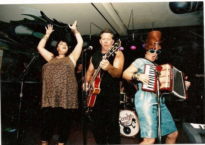 Sue Palmer (at right, rocking an accordion and 'bricktop' beehive) performs in the 1990s with San Diego blues legend Candye Kane (left) and longtime guitarist, Steve Wilcox.