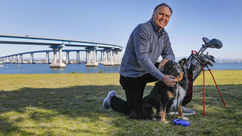 Retiring sportscaster Jim Laslavic is retiring. Here, he's at the Coronado Municipal Golf Course with Scout, his dog.