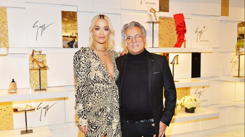 Giuseppe Zanotti And Rita Ora Launch 'Giuseppe for Rita Ora' Shoe Collection At Saks Fifth Avenue Beverly Hills