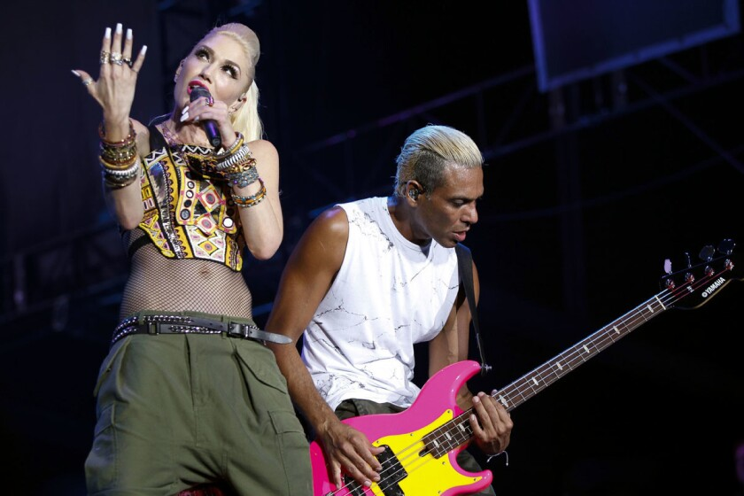No Doubt lead singer Gwen Stefani and bassist Tony Kanal perform during the KAABOO Del Mar festival at the Del Mar Fairgrounds in 2015. (Hayne Palmour IV/Union-Tribune)