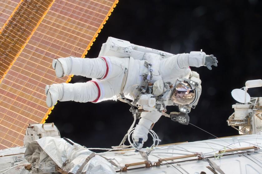Commander Scott Kelly on a Dec. 21, 2015, spacewalk aboard the International Space Station.