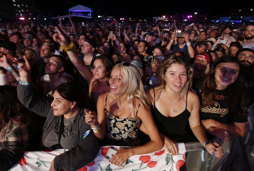 Fans cheer at KAABOO Del Mar on Sept. 13, 2019.