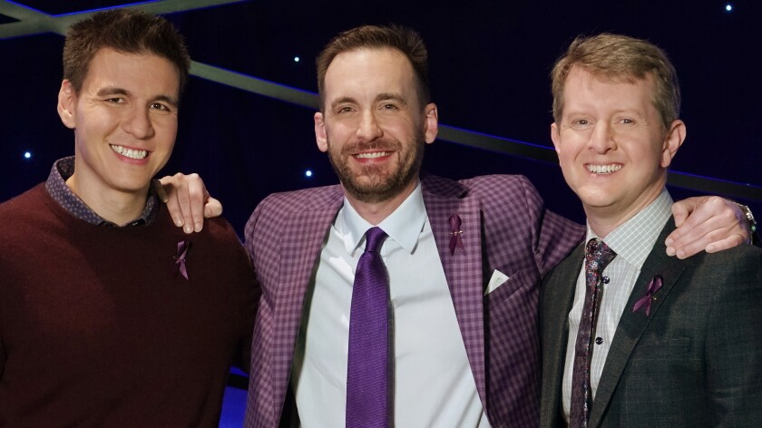 """James Holzhauer, left, Brad Rutter and Ken Jennings in """"Jeopardy: The Greatest of All Time """" on ABC."""