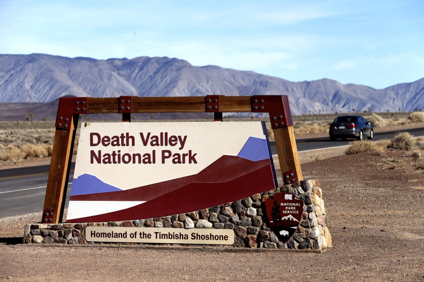 A sign welcomes visitors to Death Valley National Park.