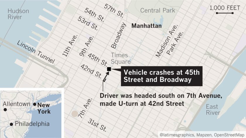 A man from the Bronx, was apprehended by police as he tried to run away after the car flipped over in the incident at 45th Street and Broadway.