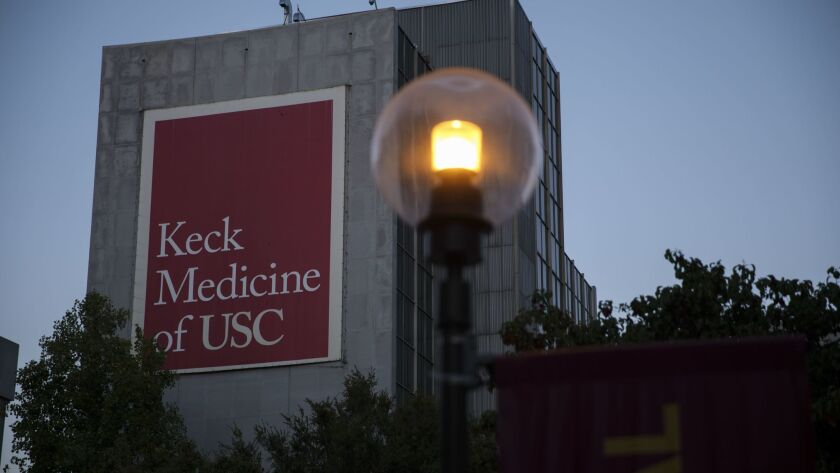 Signage is displayed for the Keck School of Medicine of USC on Thursday, July 27, 2017 in Los Angele