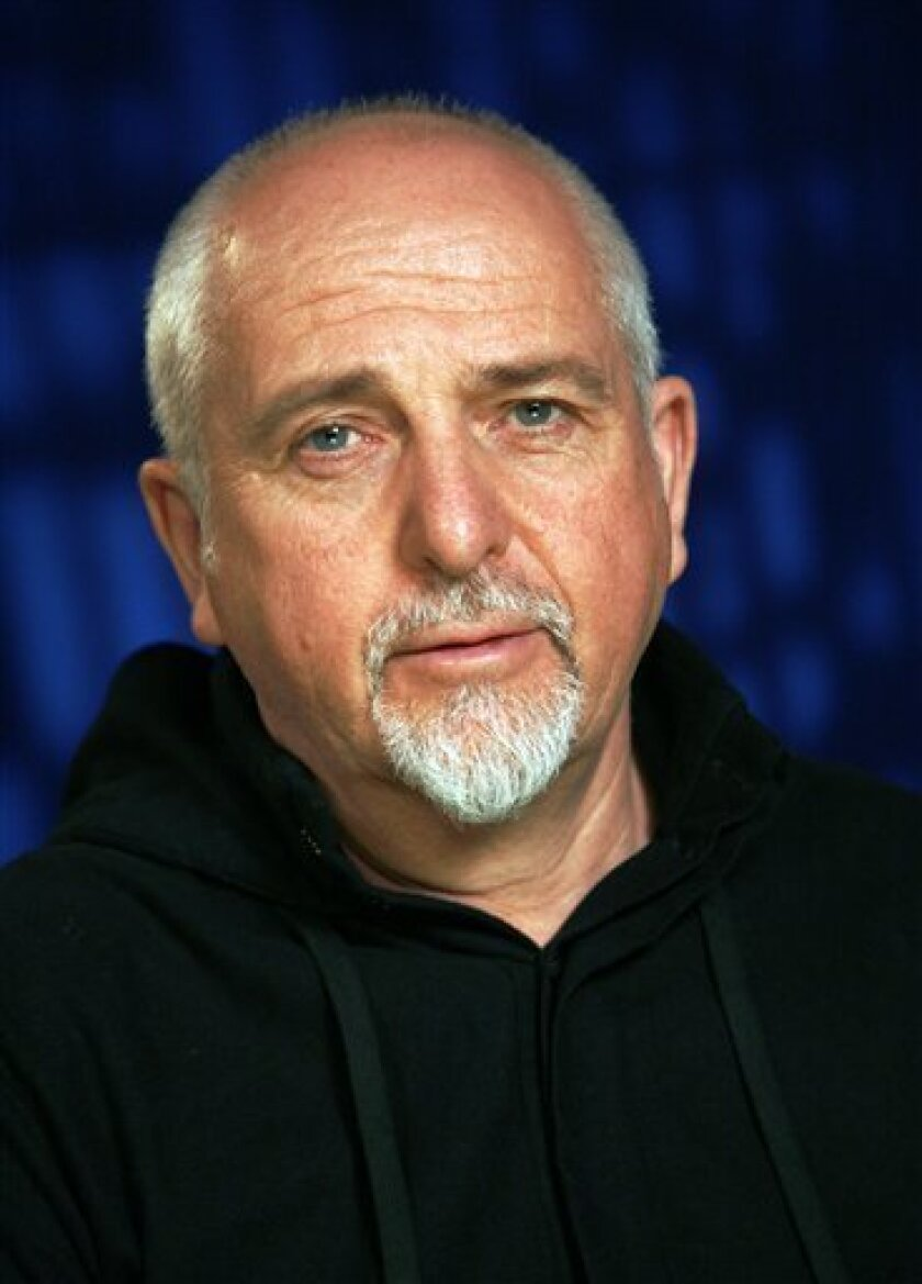 FILE - In this Jan. 21, 2010 file photo, recording artist Peter Gabriel poses for a portrait in New York. (AP Photo/Jeff Christensen, file)