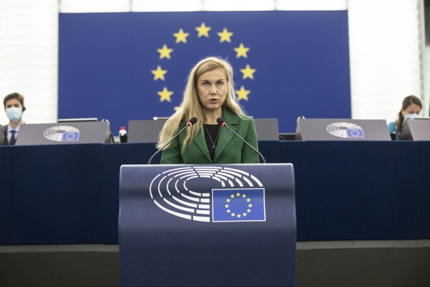 European Commissioner for Energy Kadri Simson delivers her speech about European solutions of the rise of energy prices for businesses and consumers and consumers at the European Parliament in Strasbourg eastern France, Wednesday, Oct. 7, 2021. (AP Photo/Jean-Francois Badias, Pool)