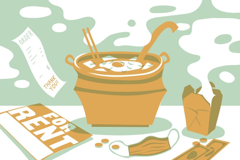 "illustration of a bowl of soon tofu soup, a ""for rent"" sign and a takeout box"