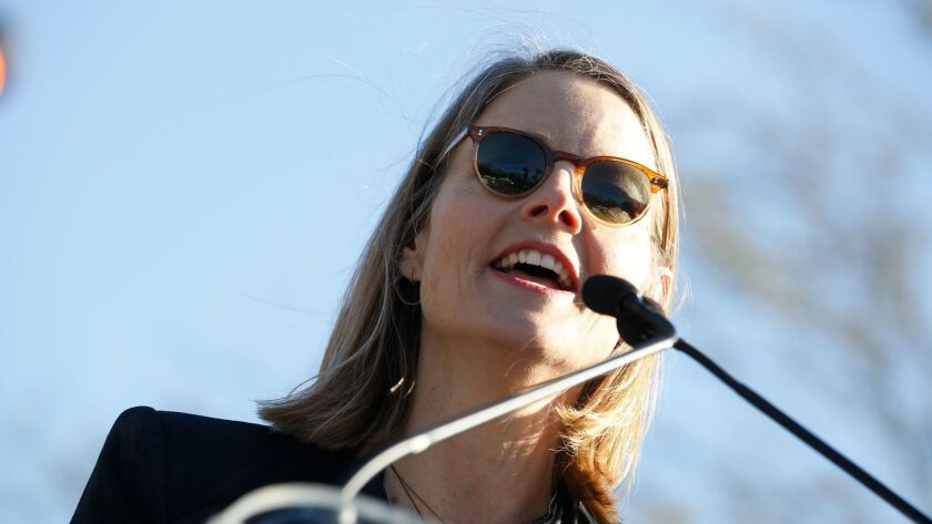 Jodie Foster speaks at the United Voices rally in Los Angeles.