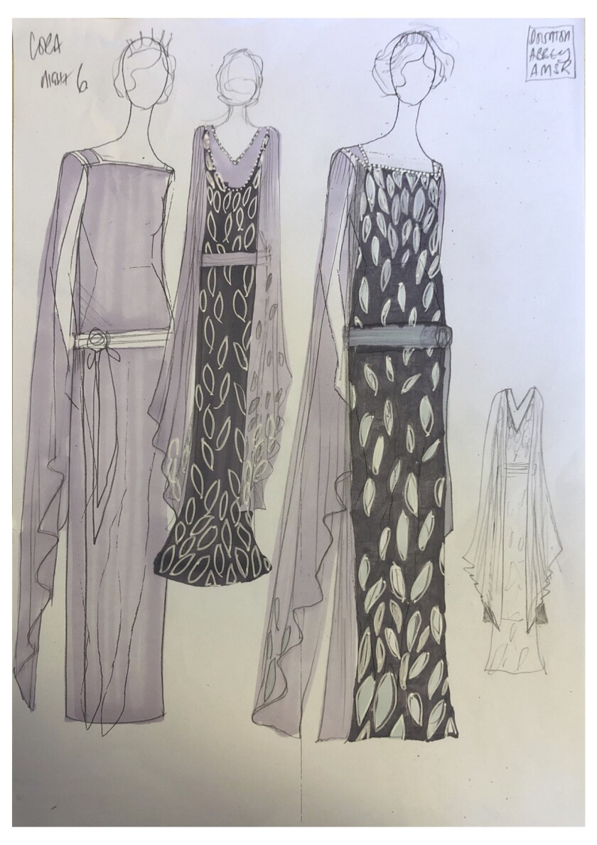 Costume sketches from the film 'Downton Abbey'
