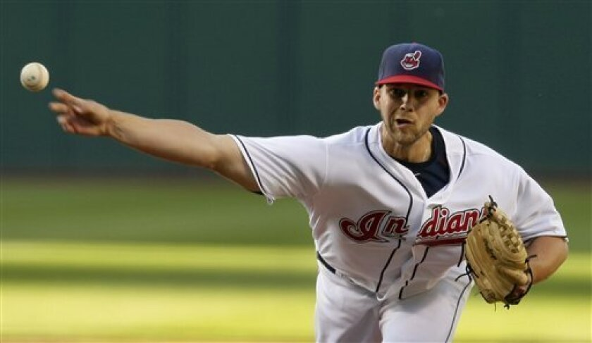 Cleveland Indians' Justin Masterson pitches in the second inning in a baseball game against the Boston Red Sox, Wednesday, June 9, 2010, in Cleveland. (AP Photo/Tony Dejak)