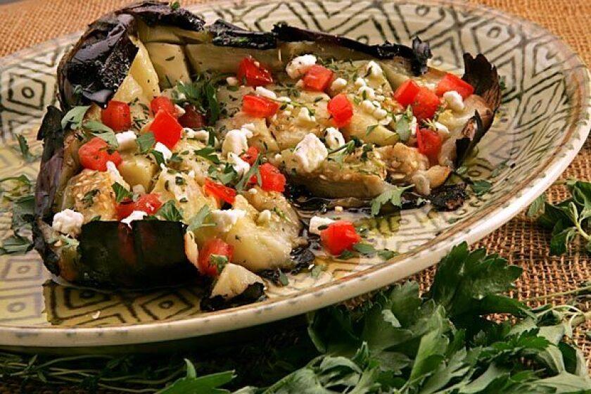 Recipe: Kuzina's butterflied roasted eggplant salad