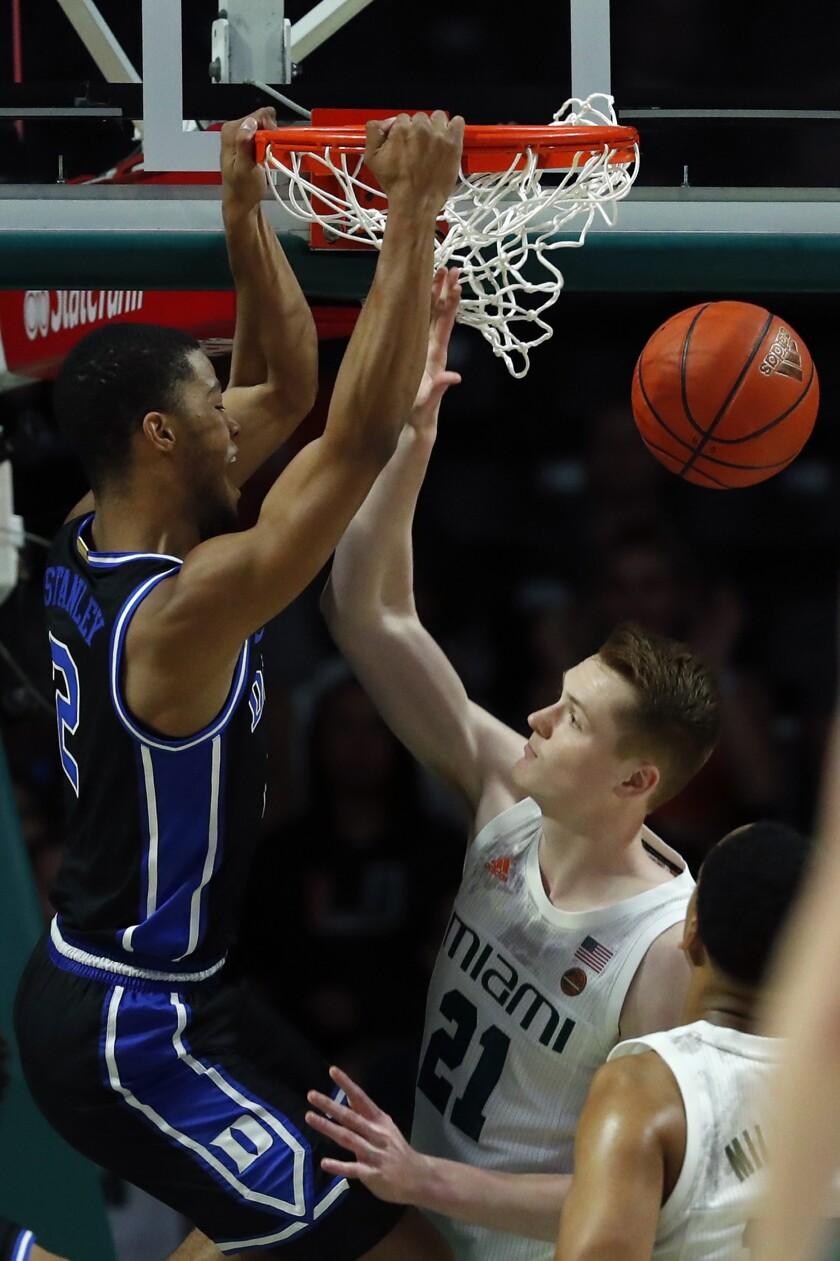 Duke guard Cassius Stanley (2) dunks the ball against Miami forward Sam Waardenburg (21) during the first half an NCAA college basketball game, Saturday, Jan. 4, 2020, in Coral Gables, Fla. (AP Photo/Wilfredo Lee)