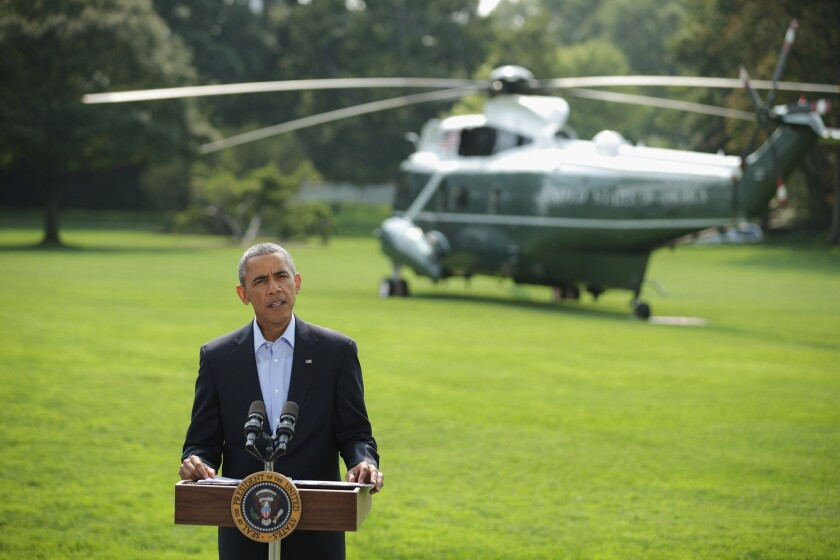 President Obama on Saturday discusses U.S. actions in Iraq before leaving for a vacation.