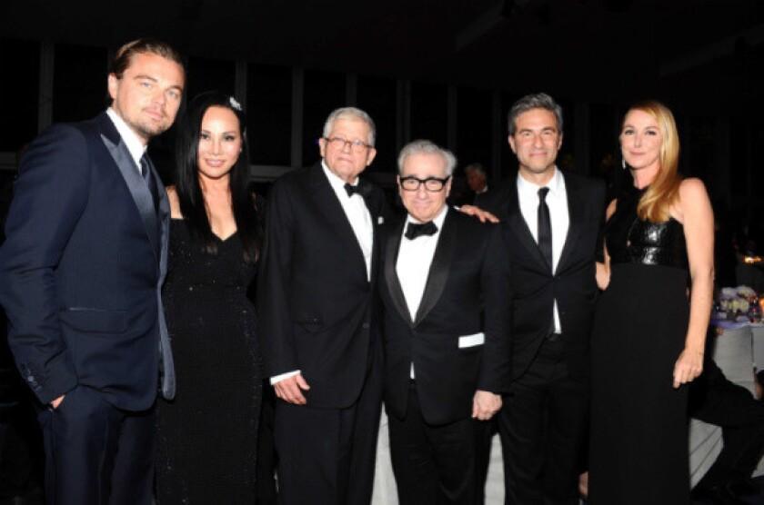 Leonardo DiCaprio, Eva Chow, David Hockney, Martin Scorsese, Michael Govan and Frida Giannini at LACMA's Art + Film Gala on Saturday.