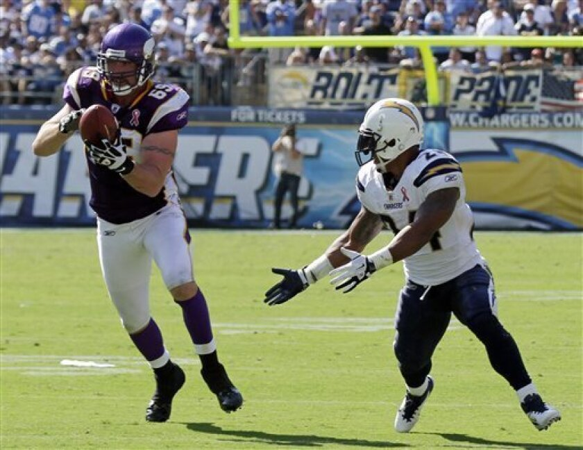 Minnesota Vikings defensive end Jared Allen pulls in an interception in front of San Diego Chargers running back Ryan Mathews during the second half of a NFL football game Sunday, Sept. 11, 2011, in San Diego. (AP Photo/Gregory Bull)