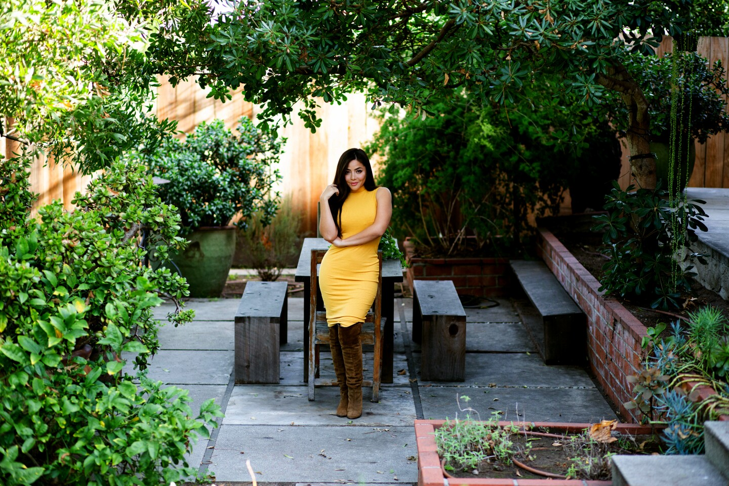 'Narcos: Mexico' actress Teresa Ruiz finds inspiration in her garden. The co-star of Netflix's gritty cartel drama likes to spend her mornings in a leafy haven that reminds Ruiz of her parents' garden in Mexico. Photograohed on Jan. 28, 2020. (Jesse Goddard / For The Times)