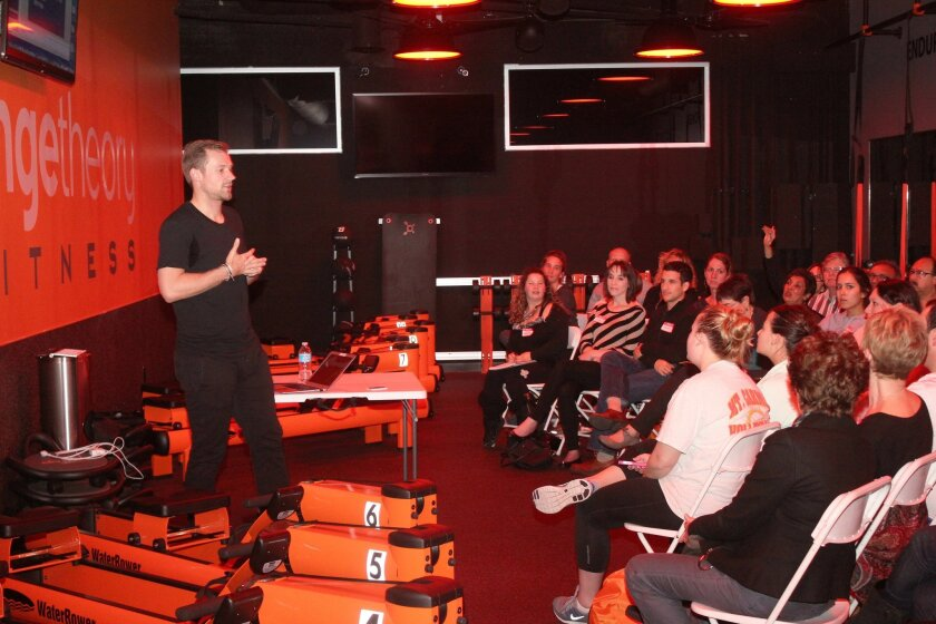 Skylar Nelson, formerly of TVs 'The Biggest Loser,' offered tips on diet and nutrition at Orangetheory Fitness on Girard Avenue Feb. 12. Pat Sherman