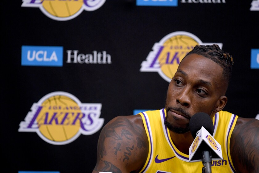 Lakers center Dwight Howard speaks to reporters during the team's media day on Friday.