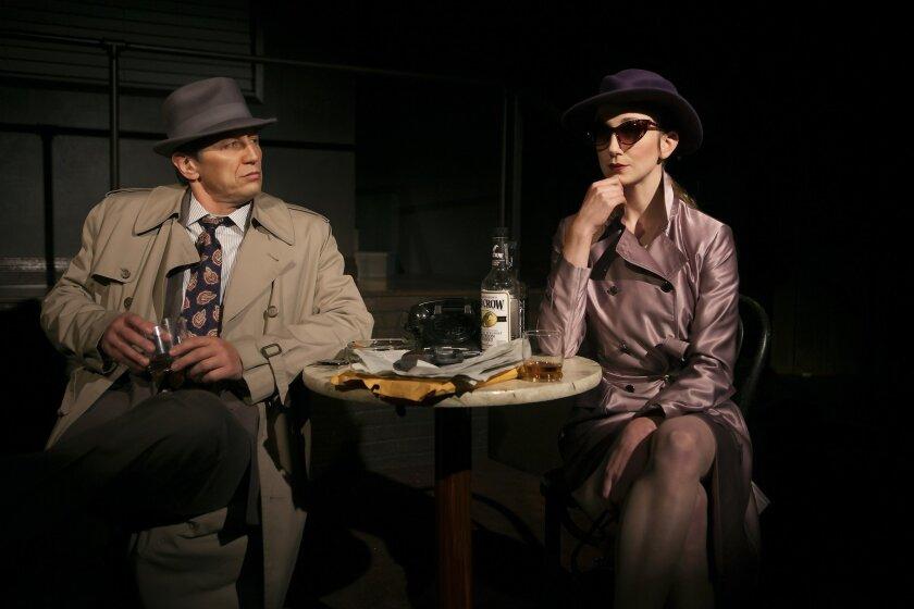 "Kevin Bailey and Sharon Rietkerk in North Coast Rep's ""Gunmetal Blues."""