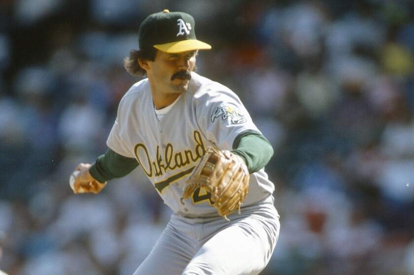 Oakland Athletics pitcher Dennis Eckersley delivers during a game in 1992. His place in Dodgers history is only sort of lost on Gavin Lux.