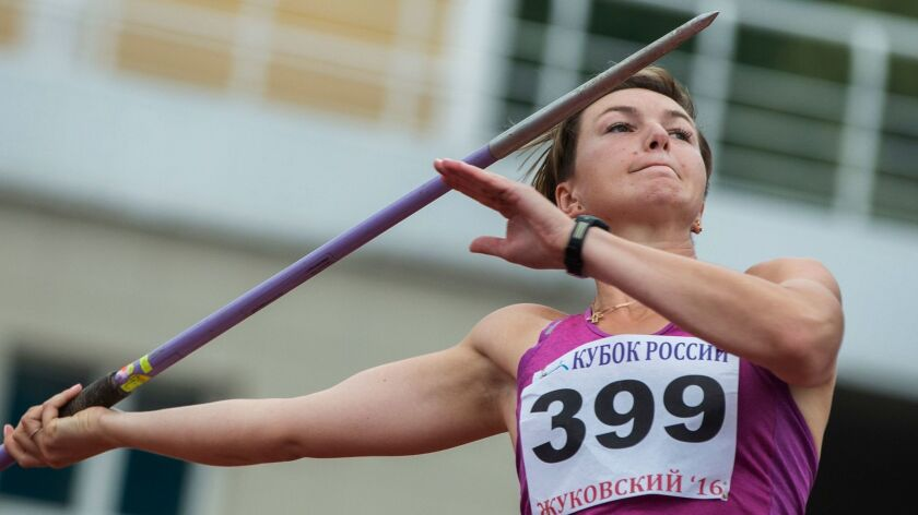 FILE - In this Wednesday, July 20, 2016 file photo, Russian javelin thrower Vera Rebrik competes in