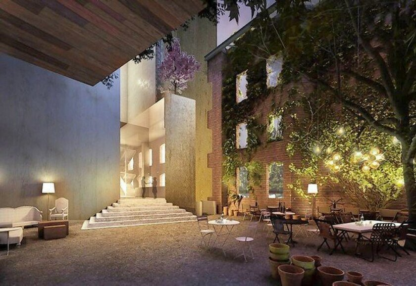 Above, a rendering of the indoor and outdoor lounge area inside the proposed hotel at 1130 S. Hope St. The developers plan to submit their proposal to the Los Angeles Planning Department this week.