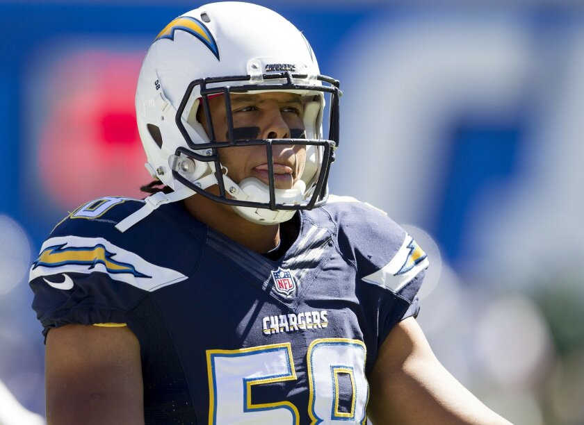 San Diego Chargers vs. New York Jets at Qualcomm Stadium.San Diego Chargers outside linebacker Tourek Williams (58).