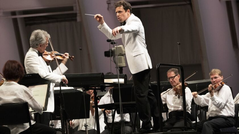 HOLLYWOOD, CALIF. -- THURSDAY, AUGUST 2, 2018: Paolo Bortolameolli, L.A. Phil's assistant conducto