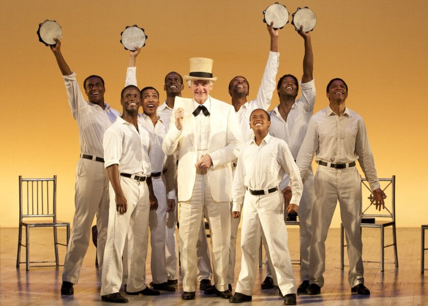 """The Interlocutor (Ron Holgate, center) leads a minstrel troupe in the telling of """"The Scottsboro Boys"""" at the Old Globe."""