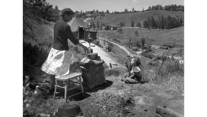 April 23, 1948: Mrs. John Groves and children near Elysian Park.