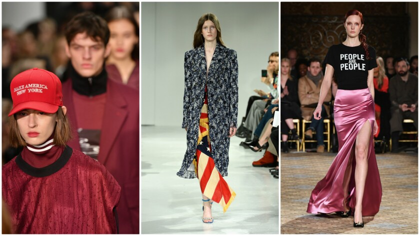Among the labels using the fall/winter 2017 runway collections as a political platform were Public School, from left, Calvin Klein and Christina Siriano.