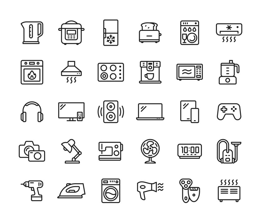 An illustration of household gadgets.