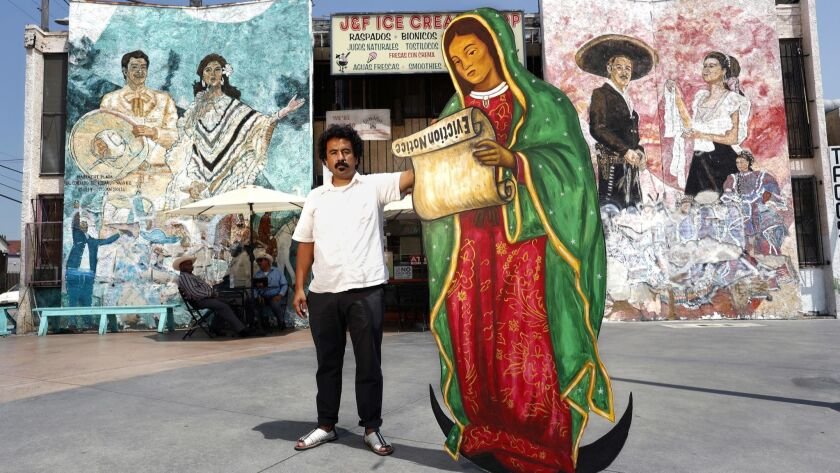 BOYLE HEIGHTS, CA-AUGUST 16, 2018: Artist Nico Avina is photographed at Mariachi Plaza in Boyle Hei