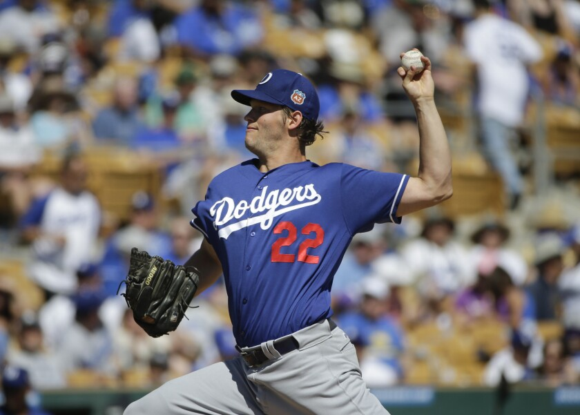 Dodgers starting pitcher Clayton Kershaw throws against the Chicago White Sox during a spring training game on March 19.