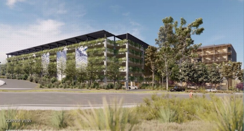 The new design for The Grove's parking garage as seen from El Camino Real.
