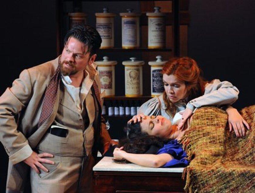 Davis (Richard Baird), Martina (Maritxell Carrero) and Adela (Eileen Faxas) struggle through intense times in Melinda Lopez's 'Becoming Cuba.' Ken Jacques
