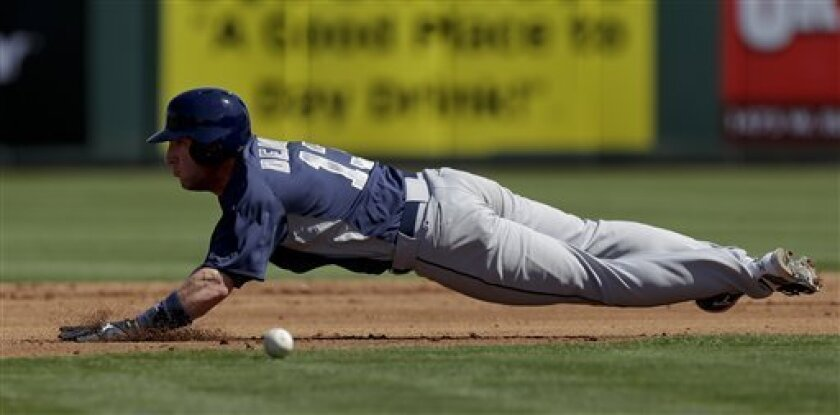 San Diego Padres' Chris Denorfia steals second base during the third inning of a spring training baseball game against the Los Angeles Angels in Tempe, Ariz., Sunday, March 17, 2013. (AP Photo/Chris Carlson)