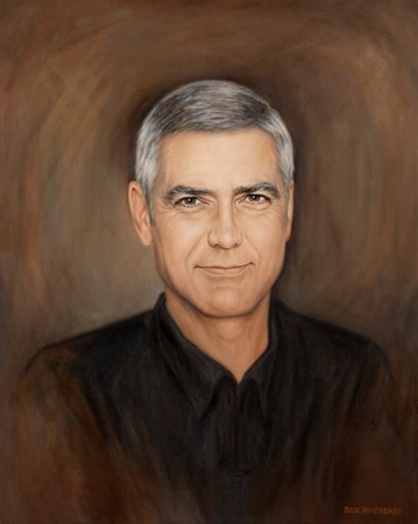 """This undated photo provided by artist Ben McCready shows a portrait of actor George Clooney painted by McCready of Whitewater, Wis. McCready and his family presented it to Clooney in March while he filmed """"The Ides of March"""" in Michigan. (AP Photo/Courtesy of Ben McCready)"""
