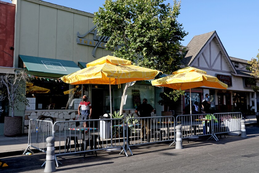 In Westchester, Ayara Thai Cuisine allows customers to eat their takeout at outdoor tables.