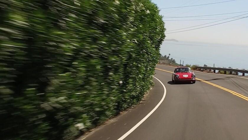 Feresten pilots his Porsche 911L up Encinal Canyon Road in Malibu.