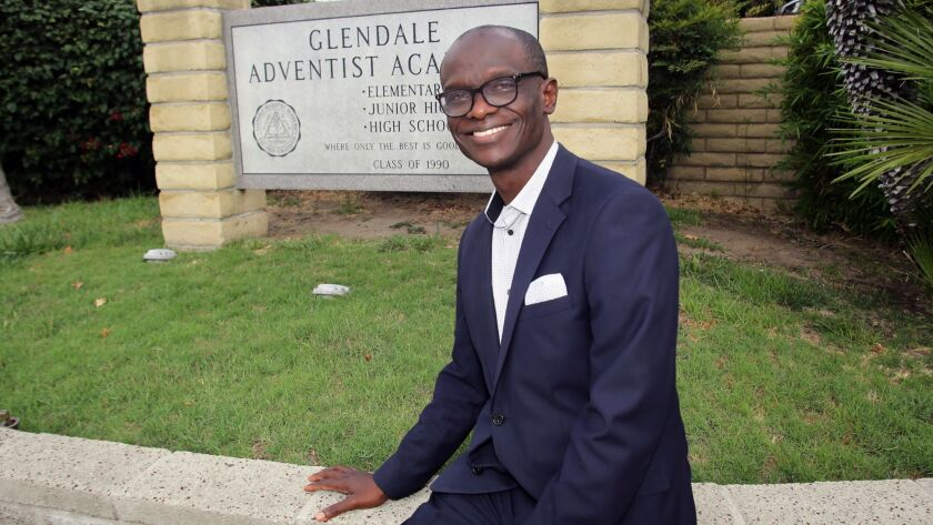 Israel Olaore, the new Principal for Glendale Adventist Academy, poses for a picture at Glendale Adv