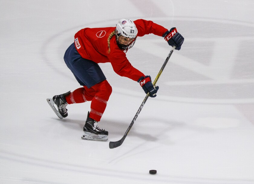 U.S. forward Annie Pankowski of Laguna Hills practices with the team during training camp in Irvine on Jan. 29, 2020.