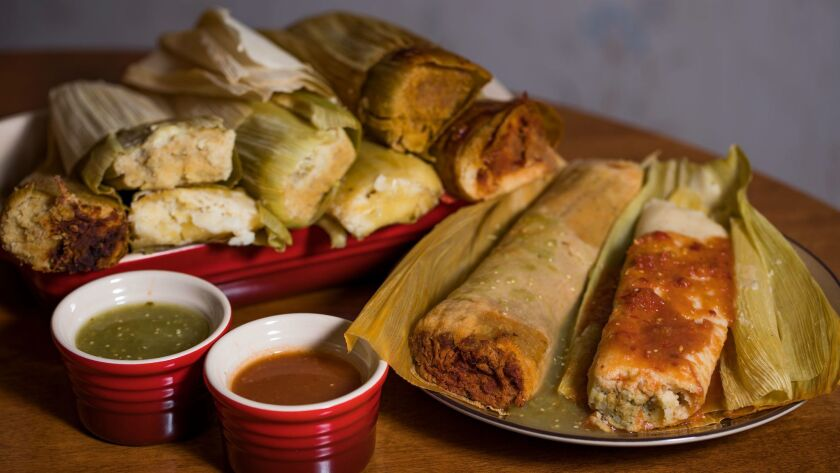 Beef, pork, chicken, and cheese and chile tamales from Me Gusta Gourmet Tamales in Pacoima.