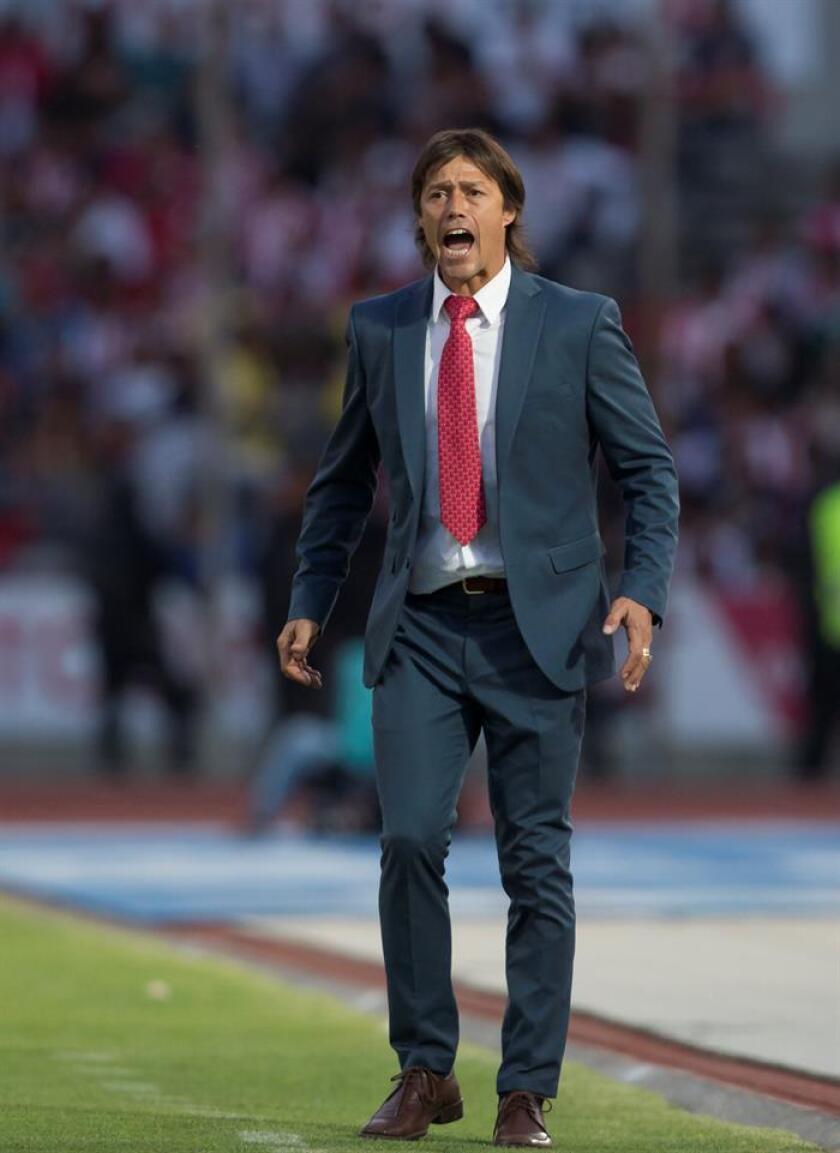 El técnico de Chivas Matías Almeyda da instrucciones a sus jugadores durante un juego celebrado en el estadio Olímpico Universitario BUAP en la ciudad de Puebla (México). EFE/Archivo