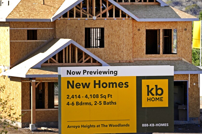A new home developed by KB Home is viewed in Simi Valley, Calif.