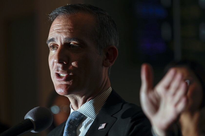 Los Angeles Mayor Eric Garcetti speaks at a news conference on Thursday morning.